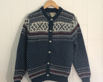 Vintage sweater, Wool sweater, Cardigan sweater, L.L. Bean sweater