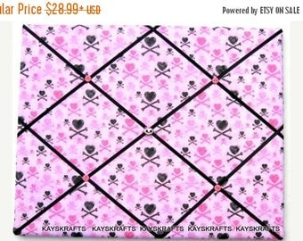 Christmas In July 30% Off Pink and Black Hearts Crossbones Memory Board French Memo Board, Halloween Decor, Glittery Girl Pirate Ribbon Boar