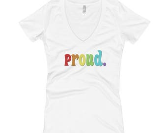Gay is Good Gay Equality Proud Rainbow Women's V-Neck T-shirt
