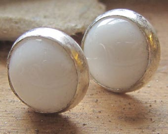 white onyx stud earrings in 925 sterling silver