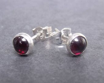 Red Garnet Sterling Post Earrings, red Stone Studs, Genuine Garnet Jewelry, January Birthstone - natural gemstones - handcrafted earrings