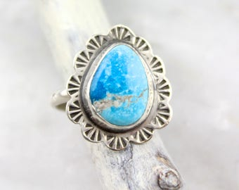Natural Turquoise Teardrop Stamped Scalloped Silver Ring