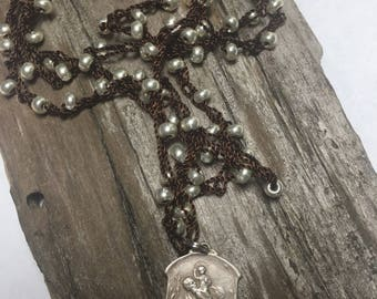Vintage st  christopher medal on long crocheted necklace