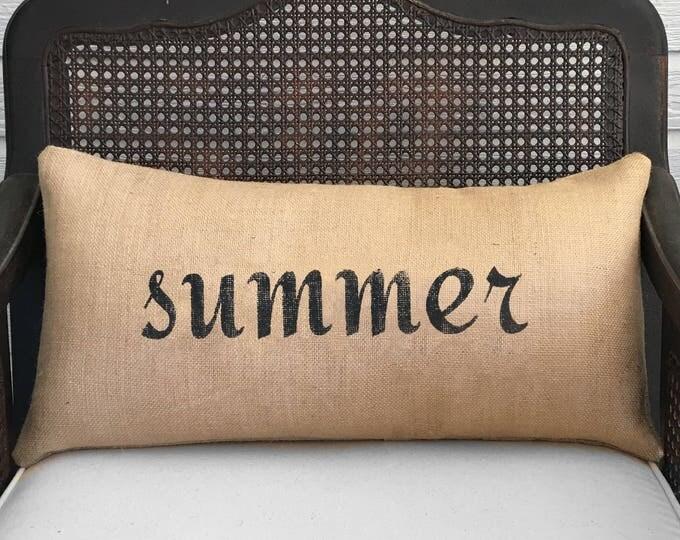 Seasons  Burlap  Pillow - Your choice of a Winter Pillow - Fall Pillow - Summer Pillow - Spring Pillow - Four Seasons - Summer decor