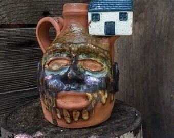 nostalgia house FACE JUG by Joel Patton, ash glaze