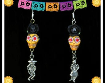 One of a Kind, Handmade Sugar Skull, Day of the Dead Art Earrings