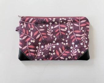 small zipper pouch, cash envelope, Eyeglass case, Pen pencil, cash wallet, Cosmetic makeup, purple leather bag, sunglasses, mauve floral