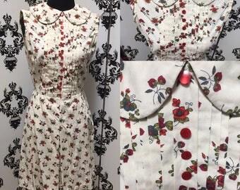 STRAWBERRY SHORTCAKE DRESS 1960'S Peter Pan Collar Sz S