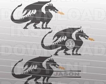Dragon SVG File,Dragon Monogram SVG File -Commercial & Personal Use- Vector Art,svg for Cricut,svg for Silhouette Cameo,vinyl design,htv