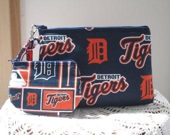 Baseball Tigers Smart phone Case Gadget Pouch Clutch Wristlet Zipper Gadget Pouch Bag  Made in USA Set Detroit Tigers