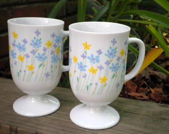 Vintage Floral Coffee Mugs / Cups Set of 2 - Made in Japan - Purple Yellow & Blue Wildflower Mug / Cup Set - Retro 80s Daisy Flower Mug Gift