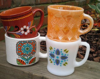 Vintage Milk Glass + Ceramic Funky Flower Folk Art & Fire King Peach Luster Diamond Pattern Coffee Mugs / Cups - Retro Mug Collection Gift