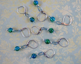 Aqua and Green Crackle Glass  Removable Stitch Markers - Item No. 1018