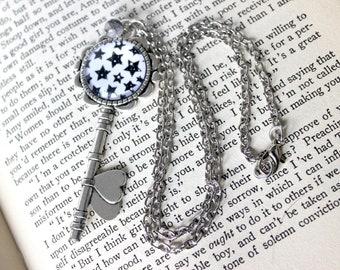 Black & White Stars Cabochon Skeleton Key Necklace with Tourmalated Quartz - Witchy Goth Pentagram Witchcraft