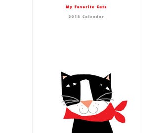 My favorite Cats Calendar  2018 Cats Wall Calendar Original Illustrations