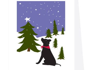 Holiday Greeting Cards Black lab in snowy pine forest