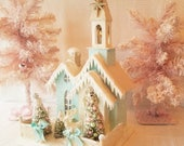 Shabby Aqua Putz Church w/ Bottle Brush Trees, Reindeer, Glitter, Snow, Lighted