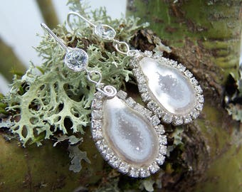 Tabasco geode Geode,bezel with Swarovski crystals, sterling silver crystal earwire, earrings