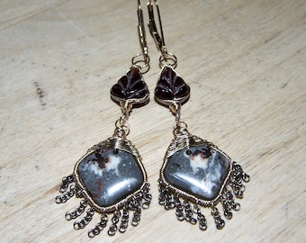 Jasper and Garnet Fringe earrings