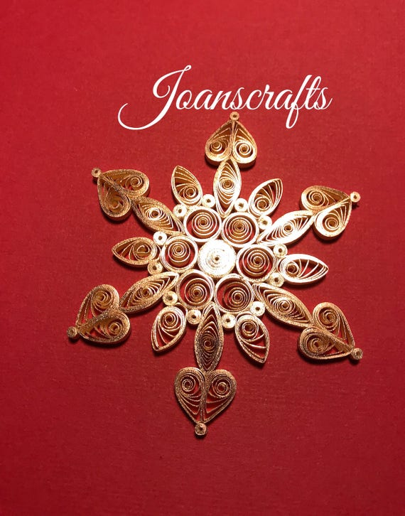 Rose Gold on Cream Quilled Snowflake Ornament