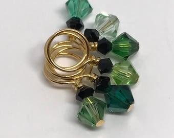 Stitch Markers - MINIS So Much Green Swarovski Crystal