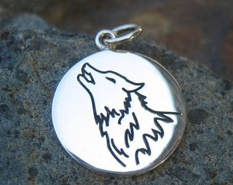 ON SALE TODAY Wolf Spirit Charm - Sterling Silver Wolf Necklace