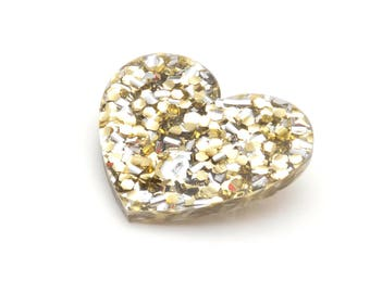 Gold & Silver Maxi Glitter Acrylic Heart Brooch - Metallic Gold Glitter Love Heart Brooch - Statement Heart Pin - Glitter Perspex Heart Pin