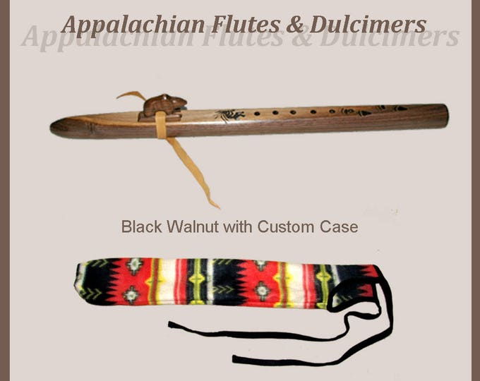 Appalachian Walnut Flute and Case with key and wood-burn options
