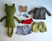 Green Wool Frog Doll with Accessories
