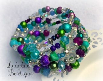 Wraparound Bracelet Memory Wire Girl or Adult ~ Pretty Peacock ~ Purple Aqua Blue Green Mint