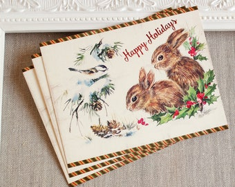 woodland holiday postcards - bunny Christmas post cards - winter forest Christmas post card set - baby rabbit holiday cards - bird Christmas