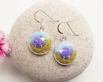 Purple Sheep Earrings Felt