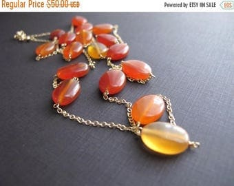 ON SALE Ember...Natural Carnelian and 14K Gold Fill Necklace, Layering Necklace