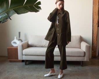 brown wide leg corduroy pant set / field jacket matching set / cotton corduroy suit / m / l / 2240o / B5