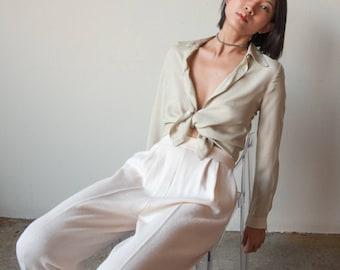 ST JOHN cream knit wool blend pants / cream easy fit lounge pants / US 6 / 2798t / B9