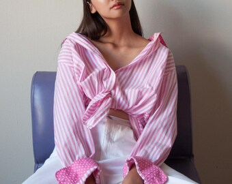 pink white cotton striped blouse / button up blouse / button down shirt / s / m / 2784t / B18
