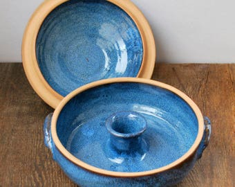Ceramic Cobalt Blue Vegetable or Rice Steamer/Wheel Thrown Stoneware Pottery