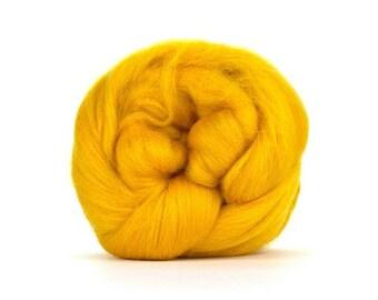 SUNSET (GOLDEN YELLOW) - Merino Combed Top - 4 ounces to Spin, Felt, Blend, Create Fiber Art