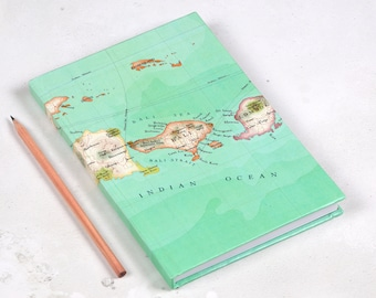 personalised Bali Map travel notebook - Custom notebook - A5 notebook  -  Map sketchbook - Travel journal - sketchbook -map gift