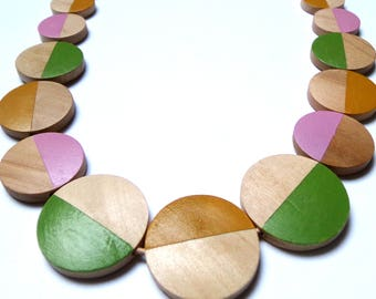 Flow natural wood statement necklace - hand painted  green pink ochre limited edition circle modern