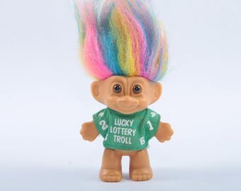 Lucky Lottery Rainbow Troll, Vintage Collectible, Norfin, Russ, Dam ~ The Pink Room ~ CC004