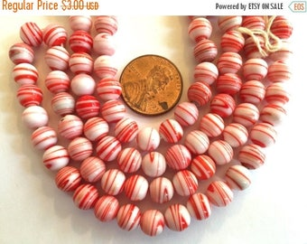 SALE 15% off Vintage beads Japan (24) red stripe white opaque glass beads Occupied Japan cherry brand rounds 7mm 8mm (24)