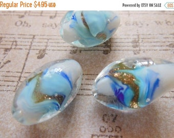 SALE 15% off Rare Vintage art  glass focal beads handmade Japan 1940s  blues turquoise gold foil large 20 x 12 (1)