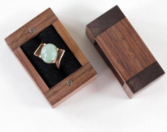 Wooden Ring Box, Solid Black Walnut