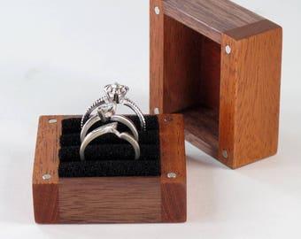 3 Ring Box, Three Ring Box, Wooden Ring Box, Walnut Wood, Mahogany Wood