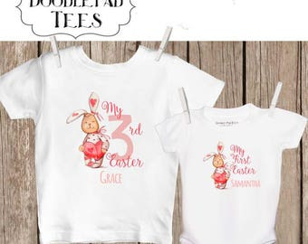 Personalized Toddler Girl's Easter Bunny Shirt My First Easter Shirt