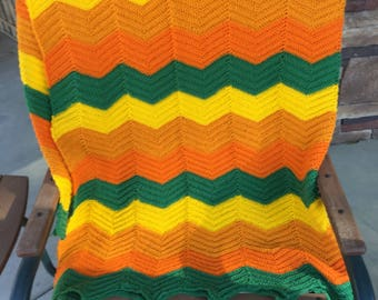 Vintage Afghan Handmade Ripple Hand Crochet Chevron Pattern Orange Green Yellow Colors zigzag afghan 70s