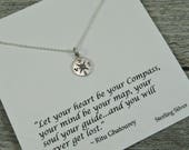 Sterling Silver - Compass Necklace - Let Your Heart Be Your Compass - Inspirational Jewelry - Compass Charm - Graduation Gift