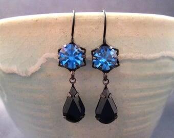 Rhinestone Drop Earrings, Blue and Black Glass, Gunmetal Silver Dangle Earrings, FREE Shipping U.S.