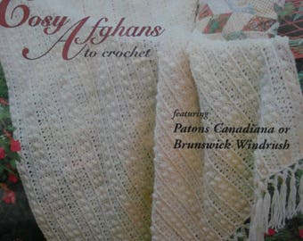 Afghan Crochet Patterns Cosy Afghans Patons 595 Worsted Weight Yarn Blanket Vintage Paper Original NOT a PDF